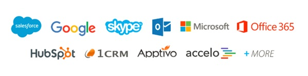 Salesforce, Google, Skype, Outlook, Microsoft, Office 365, HubSpot, 1 CRM, Apptivo, Accelo and more