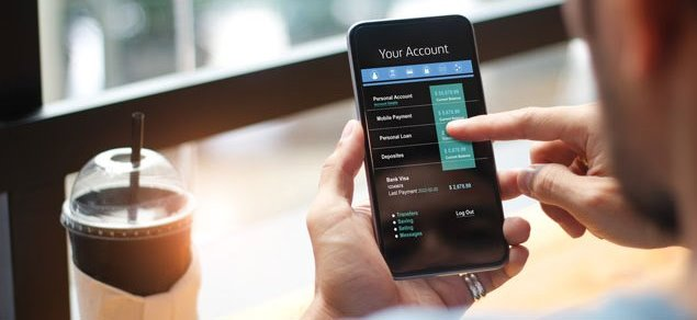 Digital banking: Checking online bank account on mobile device
