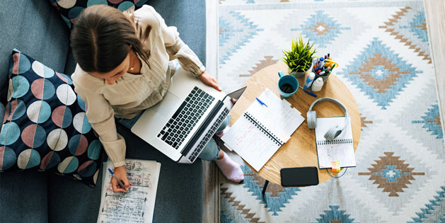 Woman working remotely on her laptop