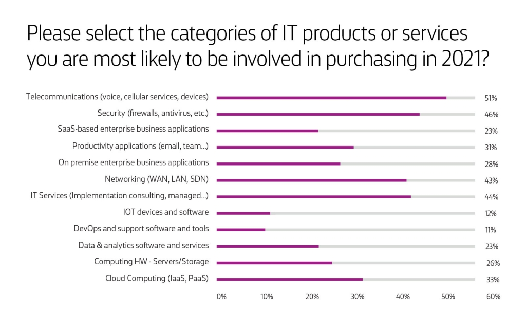 Chart: IT Products & Services to purchase in 2021